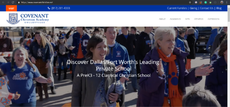 This is the homepage of Covenant Christian Academy's website.