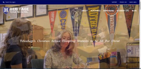 This is the homepage of Heritage Oak School's website.