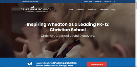 This is the homepage of Clapham School's website.