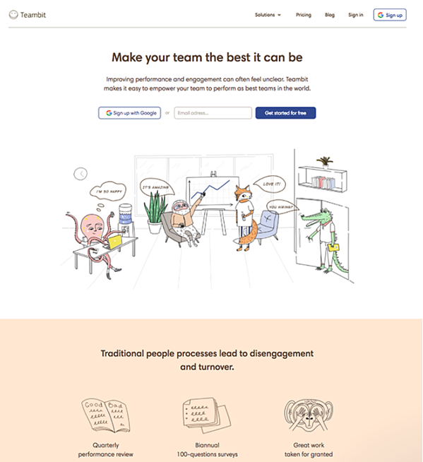 Teambit's landing page is an example of how you can incorporate an image that identifies with your brand, as well as to draw the attention of your visitors.